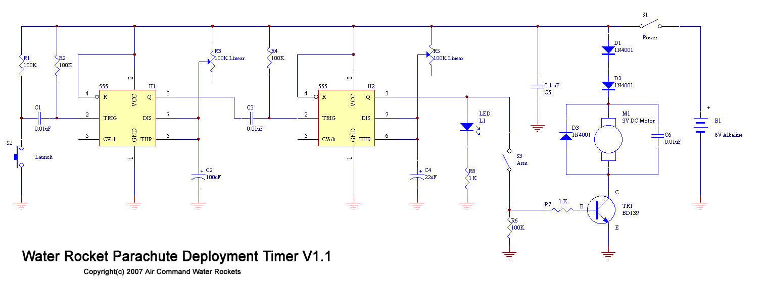 Water Rocket Parachute Deployment Timer Off Delay Circuit Diagram See The