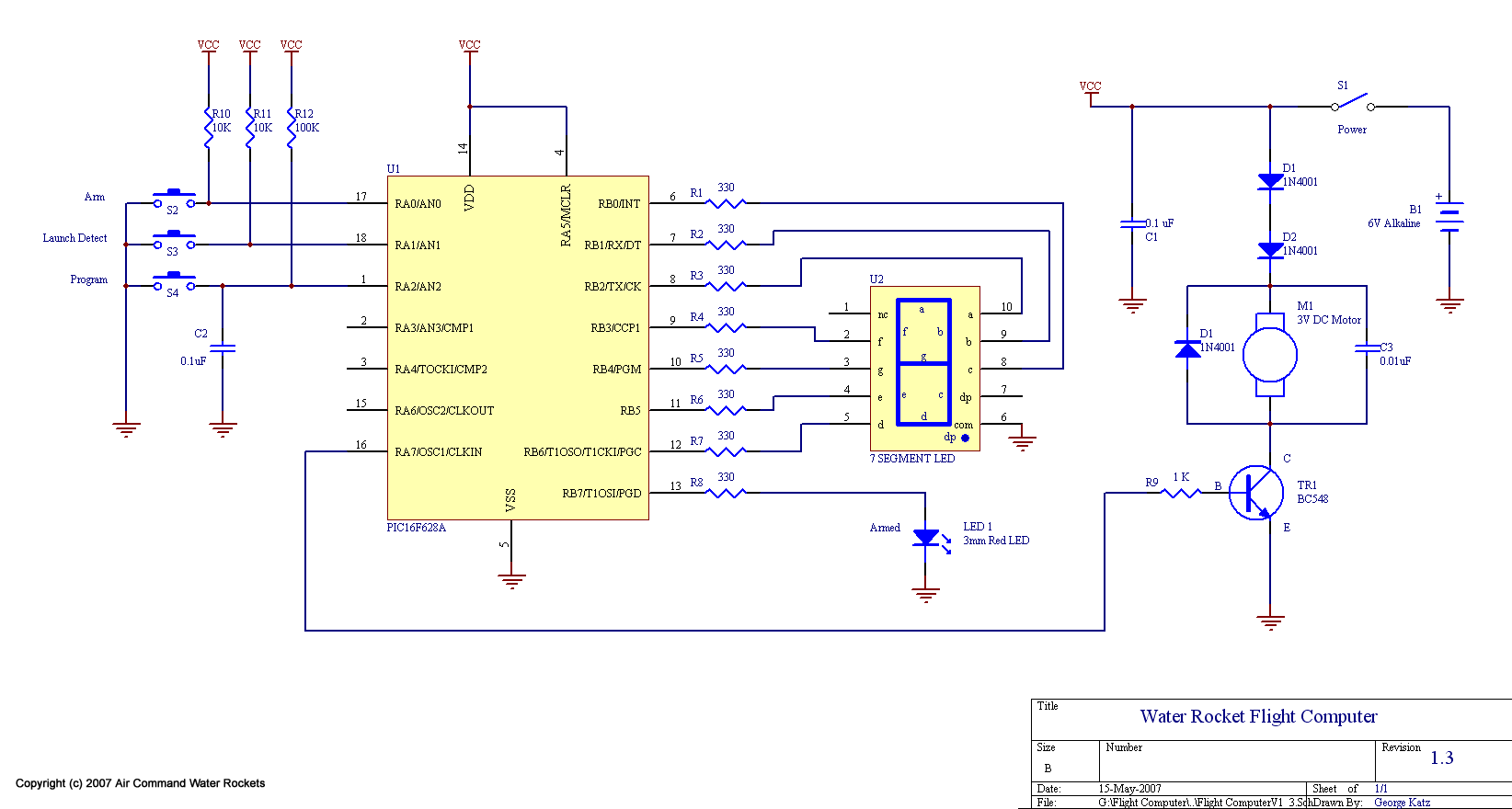 Water Rocket Flight Computer V13 Model Launch Controller Circuit The Diagram